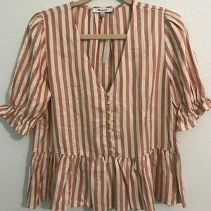 Madewell pink and white striped ruffle shirt